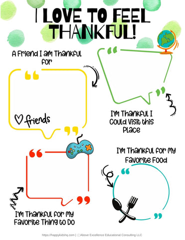 All About Me journal page on feeling thankful