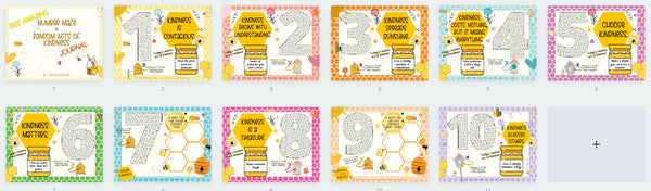 layout of all pages bee amazing number maze and kindness journal