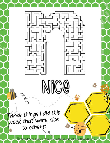 letter n from Bee Amazing Activity Book