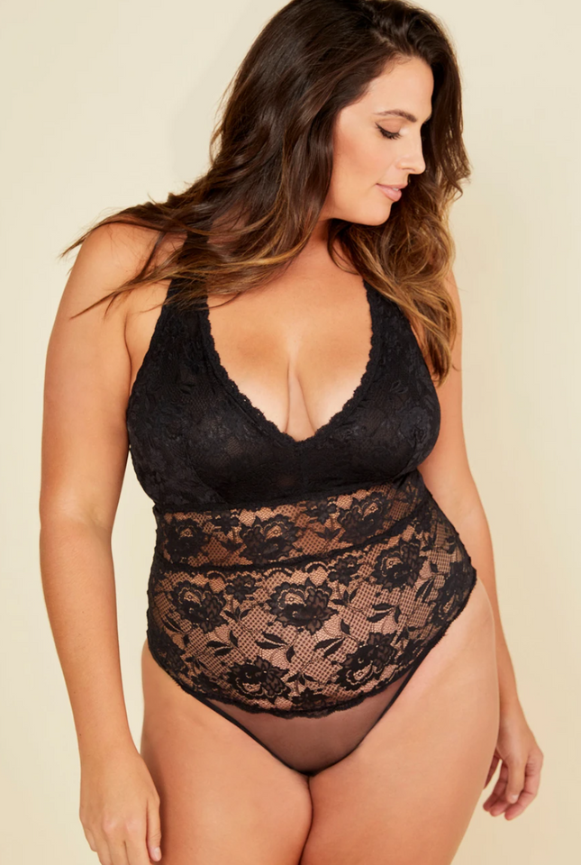 Cosabella Curvy lace teddy, full bust teddy