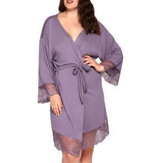 Long Sleeve Robe Lace Sleeve Detail - The Perky Lady