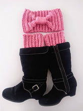 Load image into Gallery viewer, Crochet Headband and Boot Cuff set, Handmade, Pink Boot Cuffs, Gold Boot Cuffs Adult One Size Headband