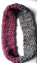 Load image into Gallery viewer, Plum and Grey Infinity Scarf, Multicolored Scarf, One Size