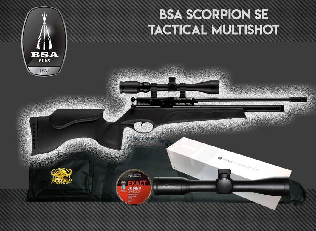 BSA Scorpion SE Tactical Synthetic Multi-Shot PCP Package Deal