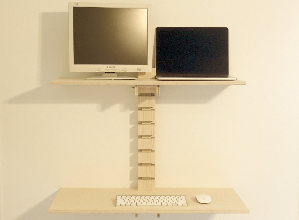 Dual-Monitor Wall Mounted Standing Desk