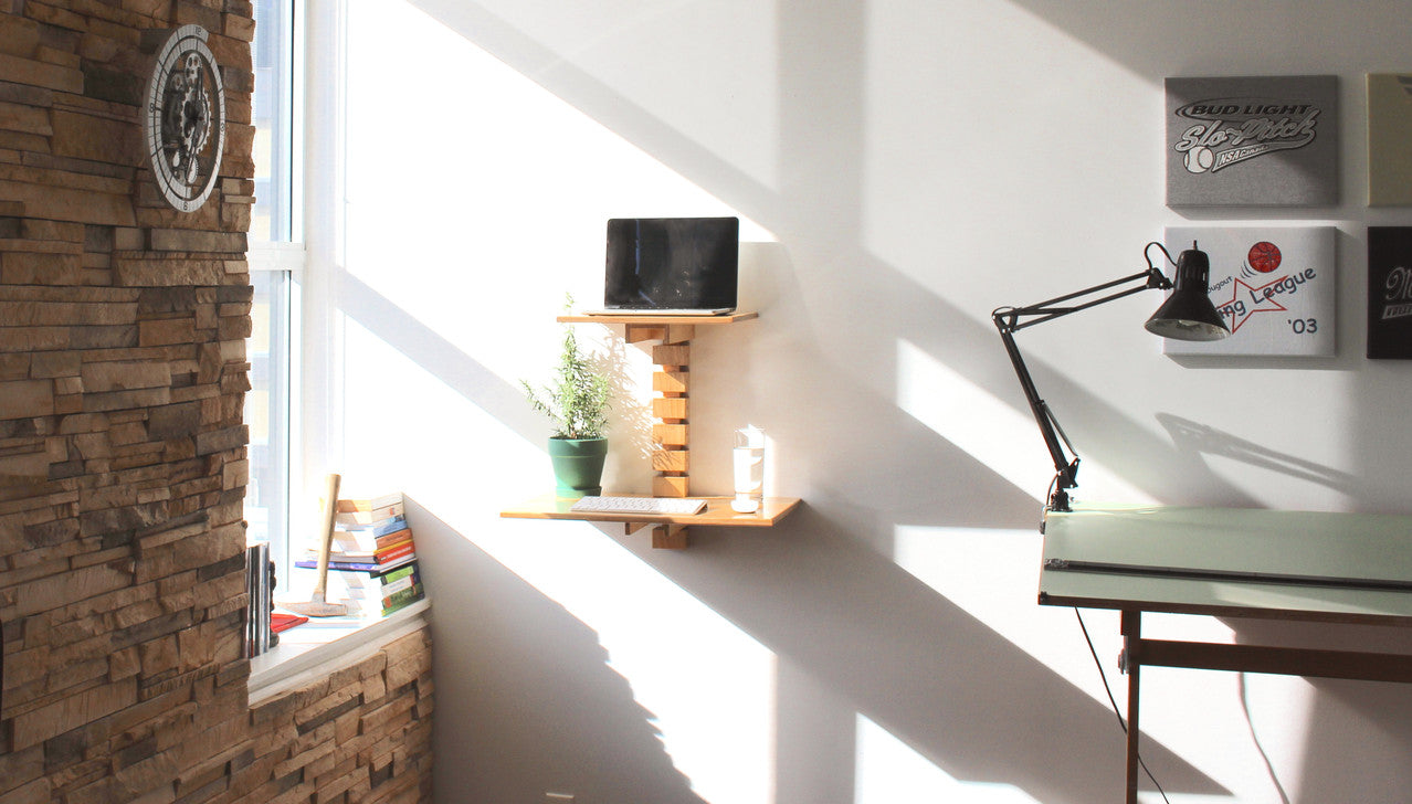 Wall mounted standing desk in the kitchen