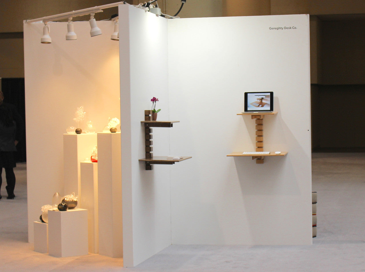 Wall-mounted standing desk - Gereghty Desk Co at IDS2016