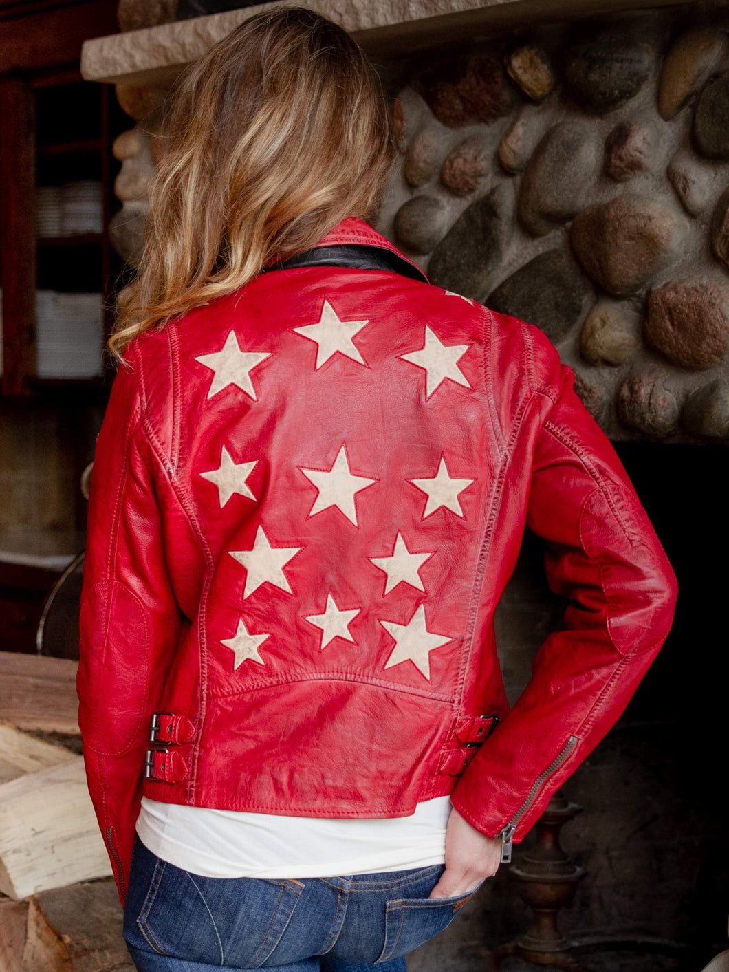 Christy Red Leather Jacket