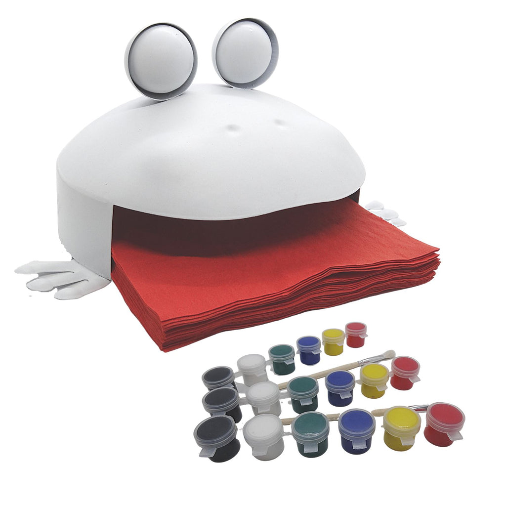 Frog Napkin Holder Painting Kit – Paint Your Own Indoor and Outdoor Frog Figurine + Paintbrush and 6-Color Washable Paint – Art Set, Craft Supplies, Grill and BBQ Accessories by CR8 Outlet, 10x5x6 In.