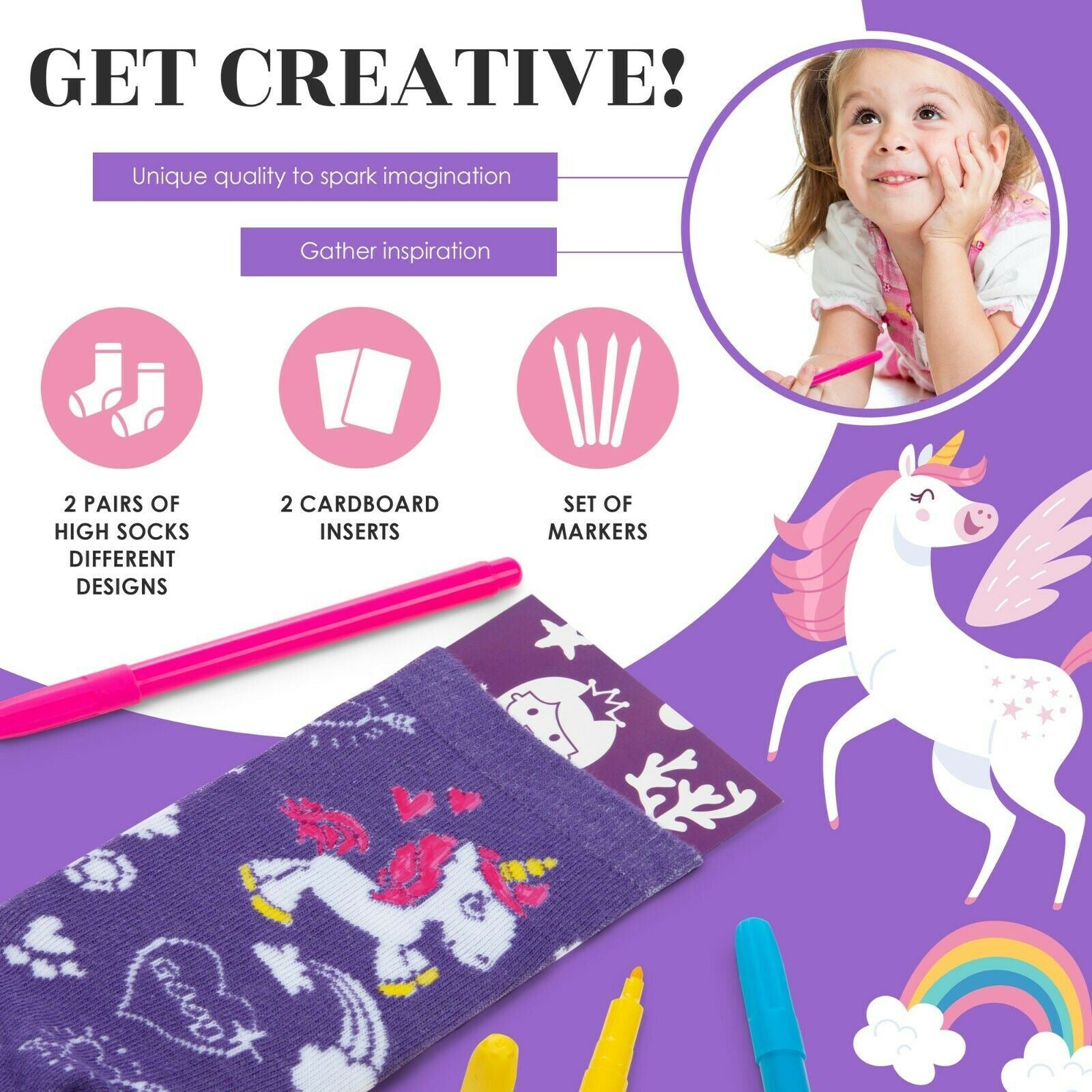 Color your own Unicorn Mermaid doodle socks are great craft kits for kids ages 3-4-5-6 years olds. Quality gift set activity for birthday, kids craft projects as Christmas stocking stuffers