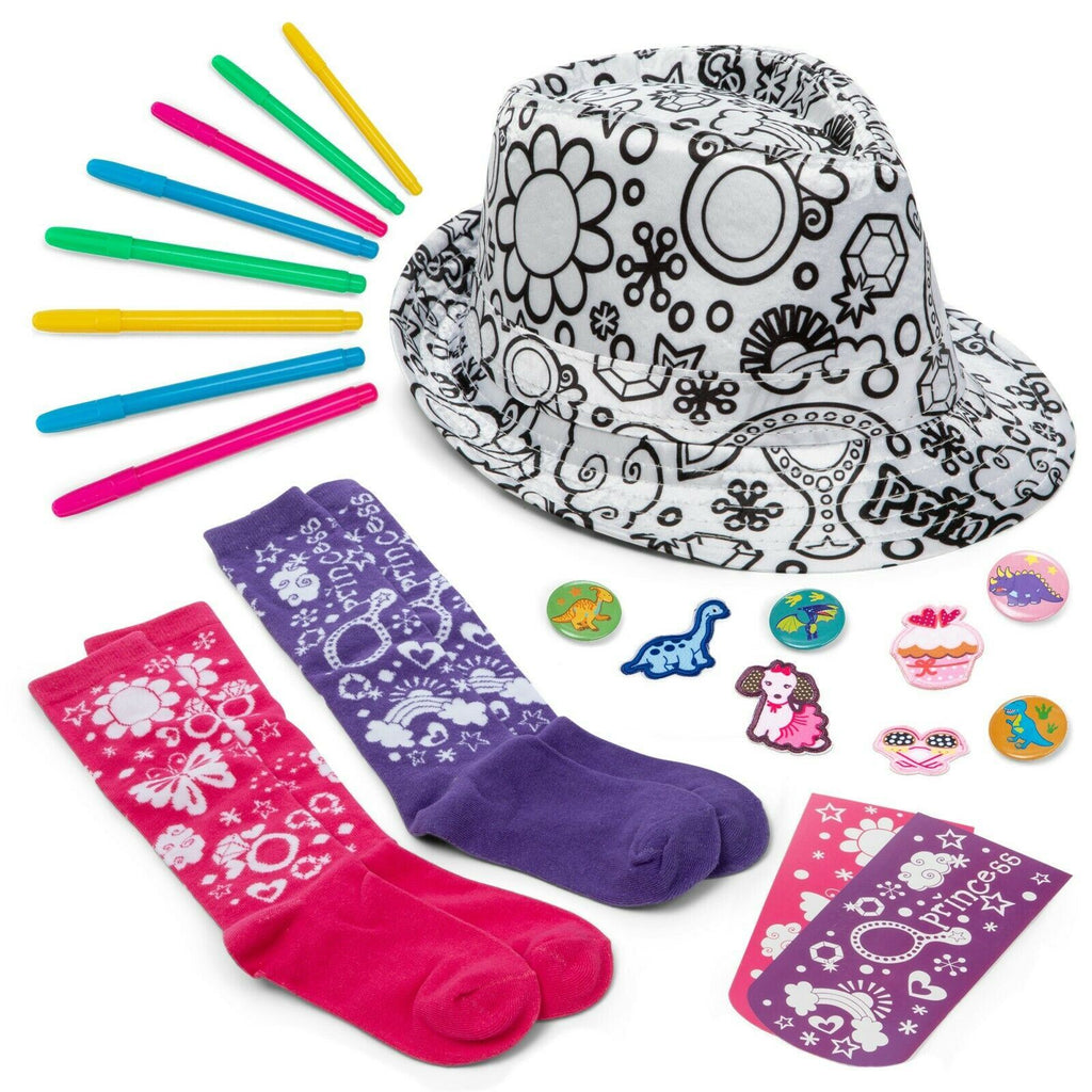 Color-In Fedora & Socks Set – Princess Kids Craft Kit with Hat, Knee-High Socks, Markers, Cardboard Aids, Patches – Educational Gifts, Activities, Crafts for Girls & Boys by CR8 Outlet, Ages 5-12