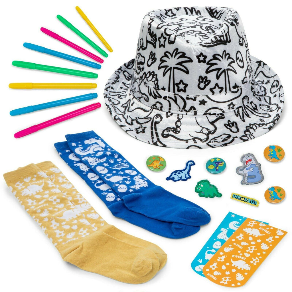 Color Your own Dinosaur Boys Fedora hat and Bonus Doodle Socks.