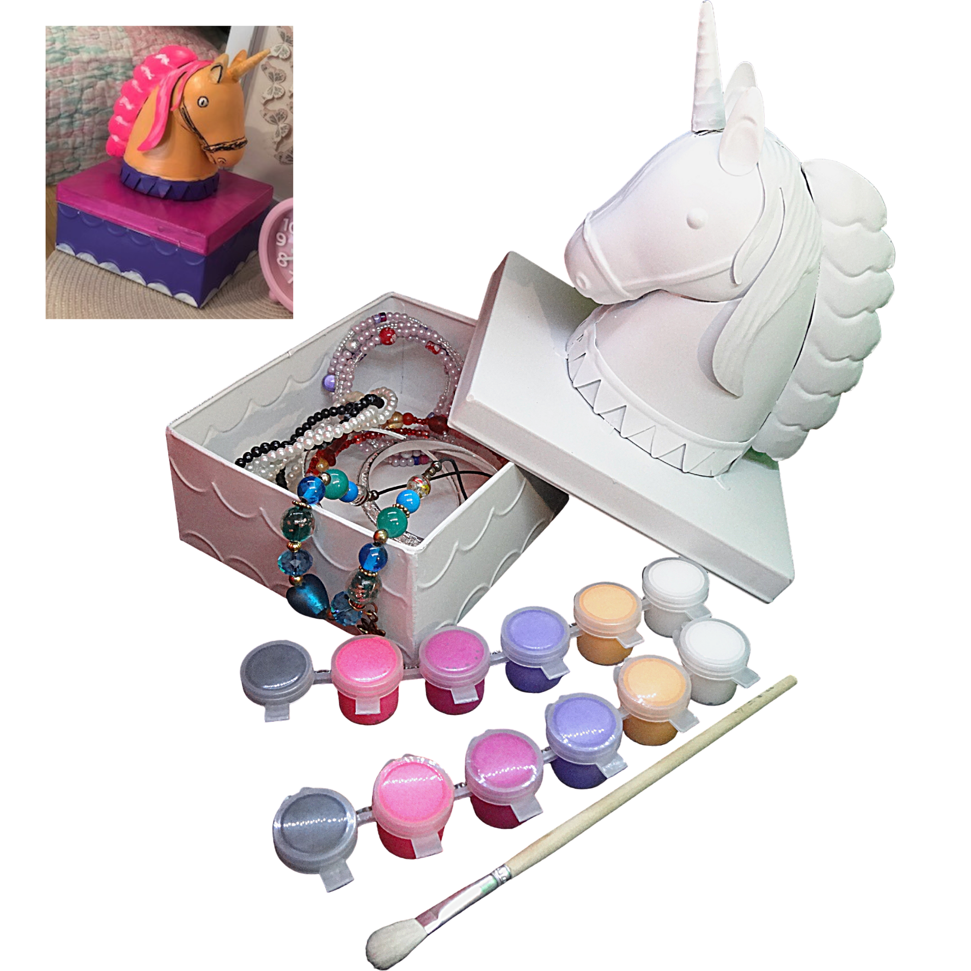 Unicorn Jewelry box for girls Painting Kit – Paint Your Own Unicorn Decor Trinket box for Kids Ages 5+, unicorns gifts for girls, Educational Art Craft girl Gifts by CR8 Outlet,