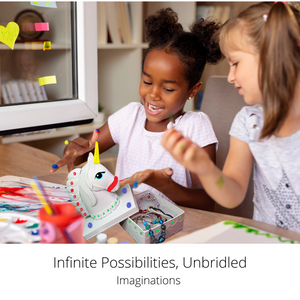 Lifelong Lessons – With your kids craft kit, education is exciting. Entranced in painting this unicorn toy room decor, your child practices fine motor skills, creativity, concentration, and more!