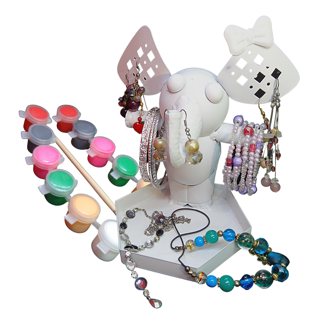 Jewelry Organizer Stand Painting Set – Paint Your Own Elephant Earring, Bracelet, & Necklace Holder/Display/Tree with Paints & Brush for Kids Ages 5+  – Ellie the Elephant by CR8 Outlet, 6x4.7x6 In.