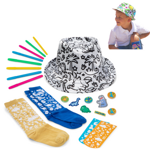 CR8 OUTLET Color Your own Dinosaur Boys Fedora hat and Bonus Doodle Socks. Quality DIY STEM Craft Kits for Boys Ages 6-7-8-9-10-11-12 Years Old Arts and Crafts Toys Birthday Gift Projects