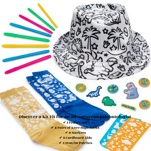 All YOUR KIT READY – Wear pops of personality with CR8 Outlet's colour-in dinosaur fedora and socks! Designed for ages 5-12, your kid craft kit lets you create accessories that show off your talents!
