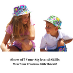 Load image into Gallery viewer, Colour-In Dinosaur Fedora hat & Socks Gift Set Kids Craft Hat Kit inc markers