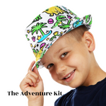 Load image into Gallery viewer, {FUN FOR ALL} Our DIY doodle color in socks and fedora hat , kid activities craft comes with a dinosaur design gift for kids or as a childs keepsake .To inspire a variety of color designs, this color in socks kit for kids has been carefully crafted to provide long-lasting enjoyment in your life Color your own craft for boys kit project makes the perfect gift for toddlers during the holidays or on their birthdays, and make a great family activity for younger kids, art projects for kids
