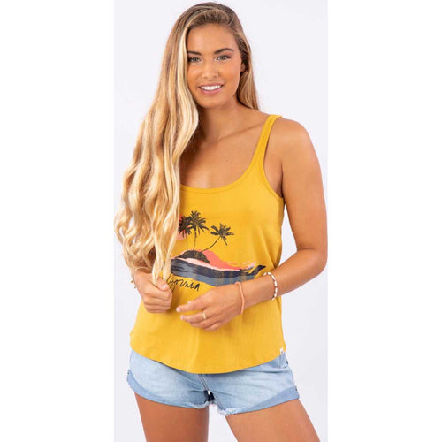 Catch Waves Tank in Mustard
