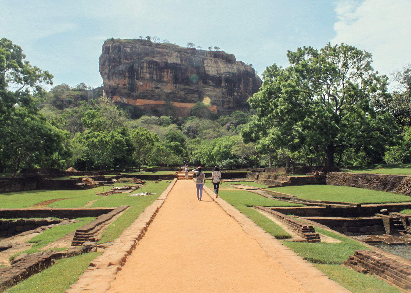 Approaching Sigiriya, an ancient rock fortress