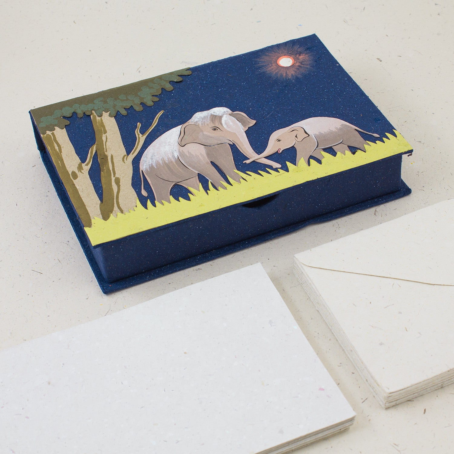 Boxed Stationery Set Elephants Dark Blue