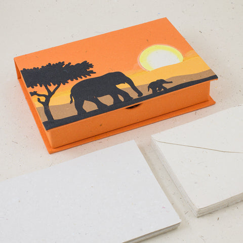 Boxed Stationery Set Elephants Orange
