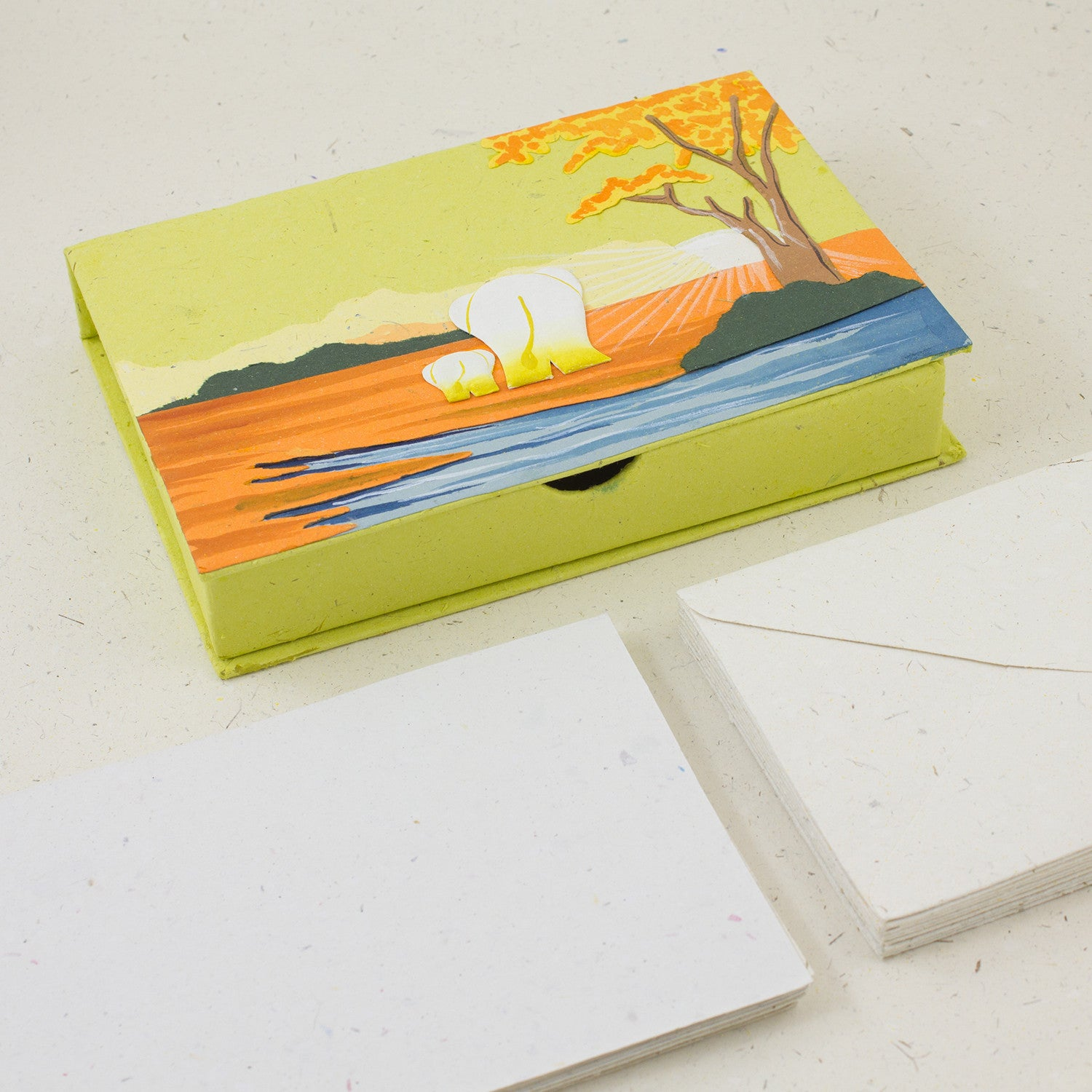 Boxed Stationery Set Light Green