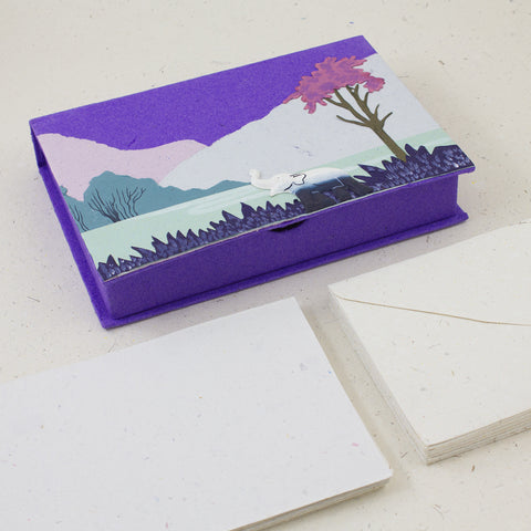 Boxed Stationery Set Elephant Dark Purple