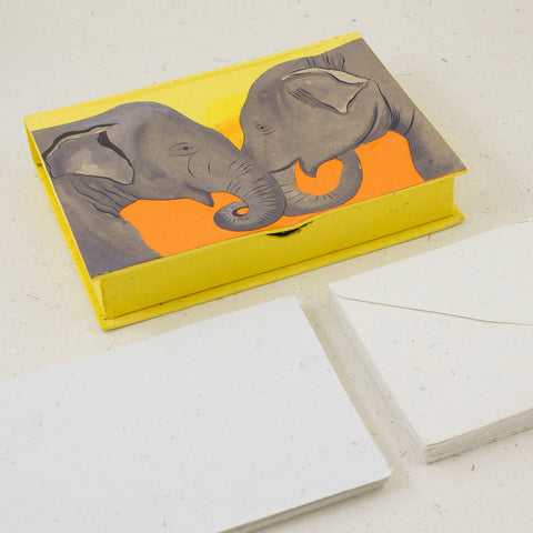 Boxed Stationery Set Elephants Yellow