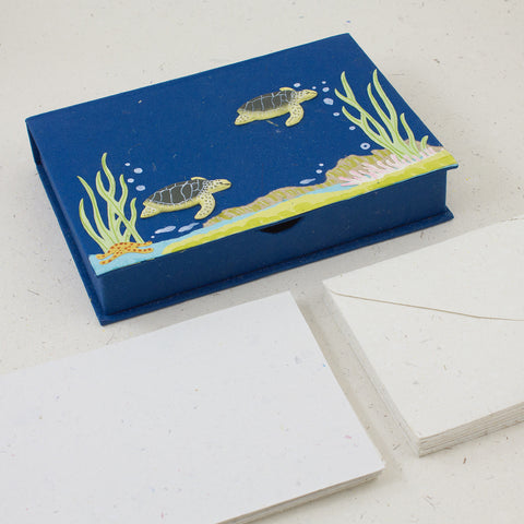 Boxed Stationery Set Sea Turtles Blue