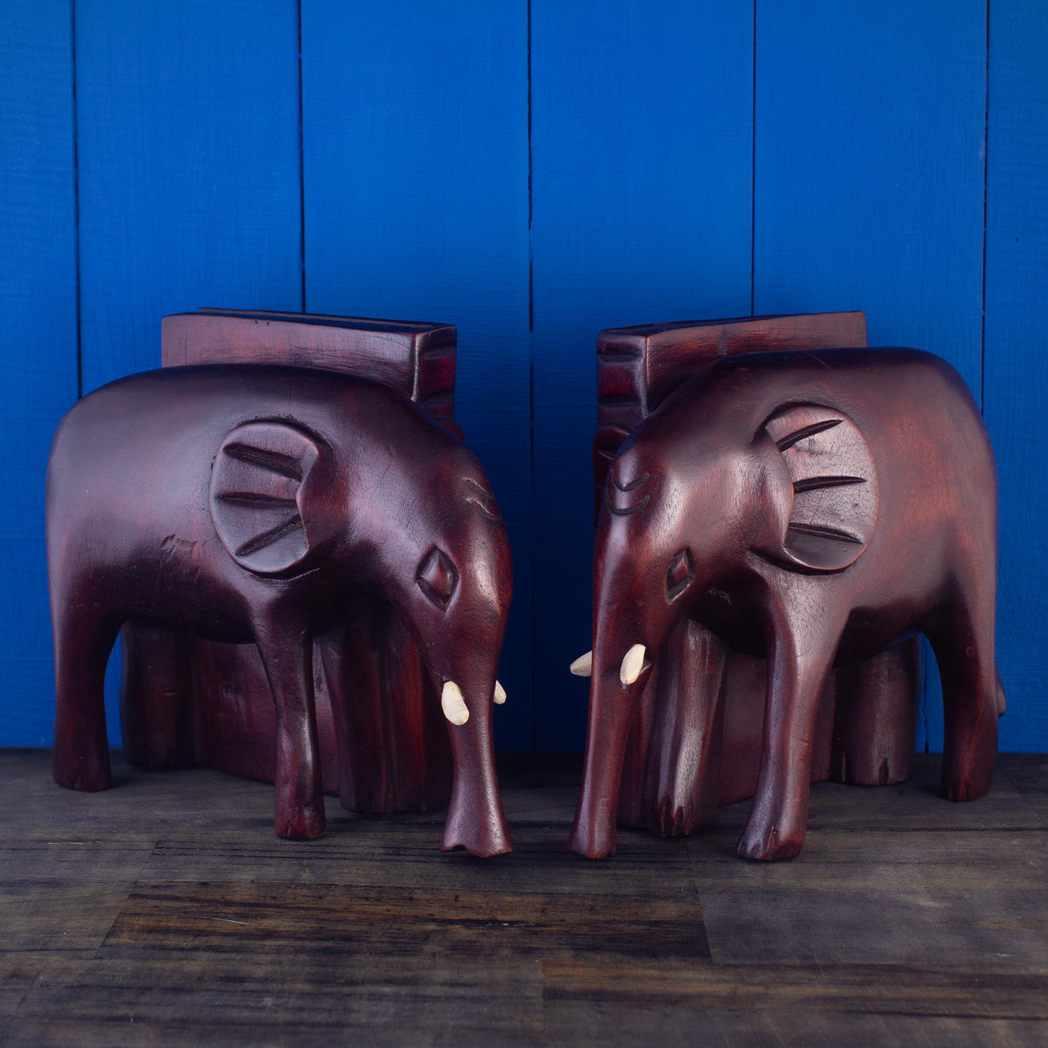 Hand-Carved Wooden Elephant Bookends Set