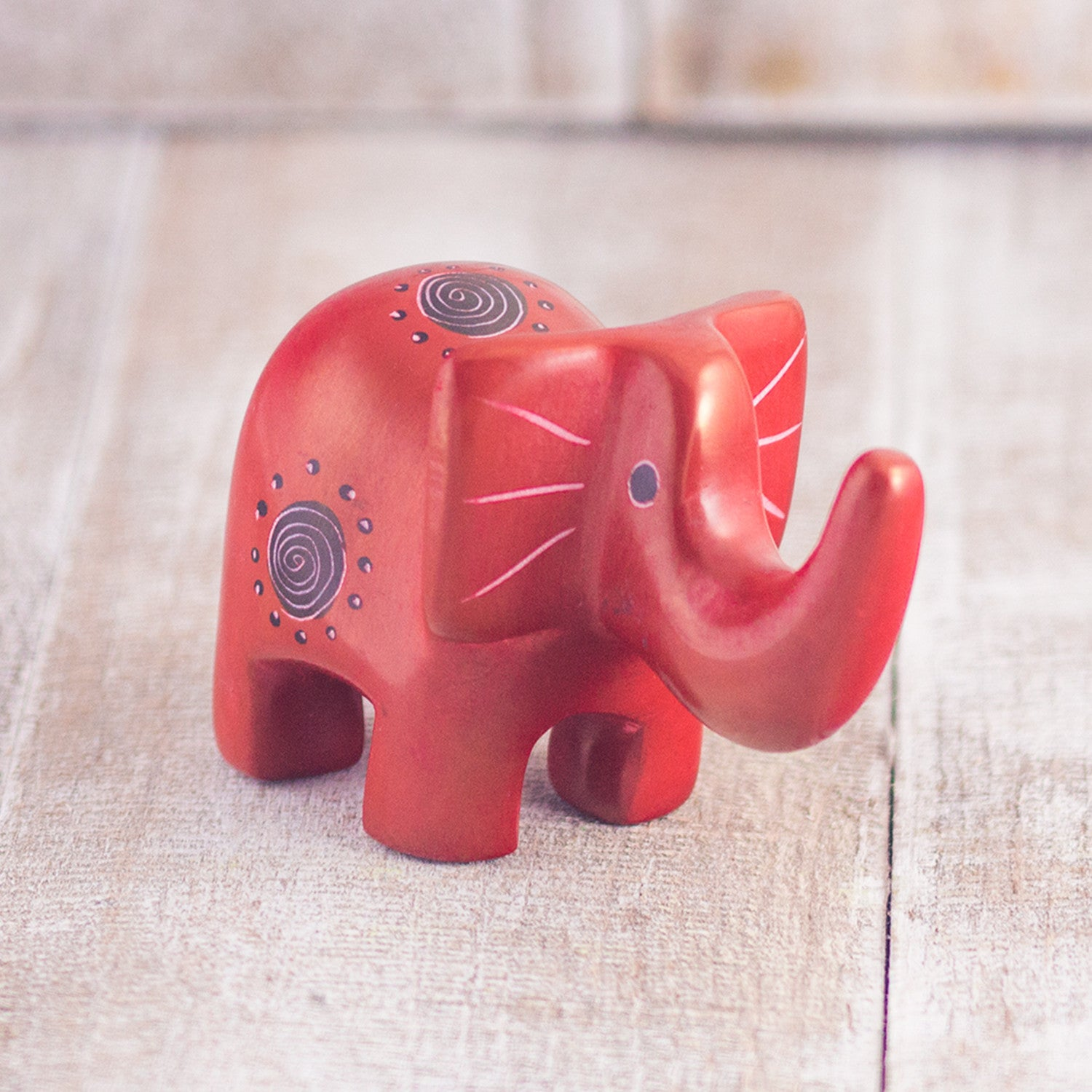 Soapstone Elephant Red