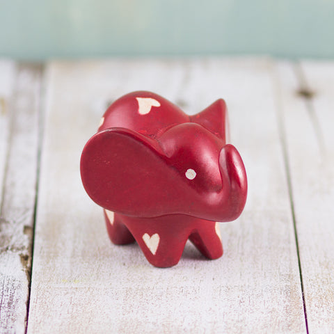 Soapstone Big-Eared Elephant Red