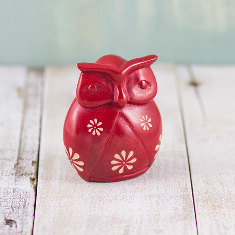 Soapstone Owl Red