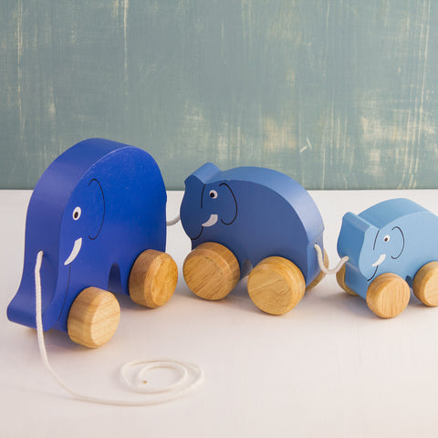 Wooden Pull-Along Elephant Family