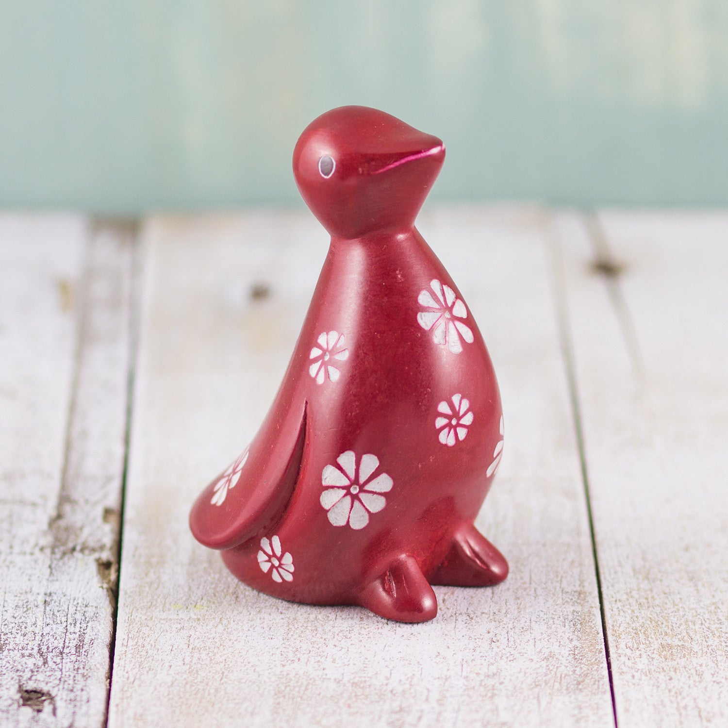 Soapstone Penguin Red