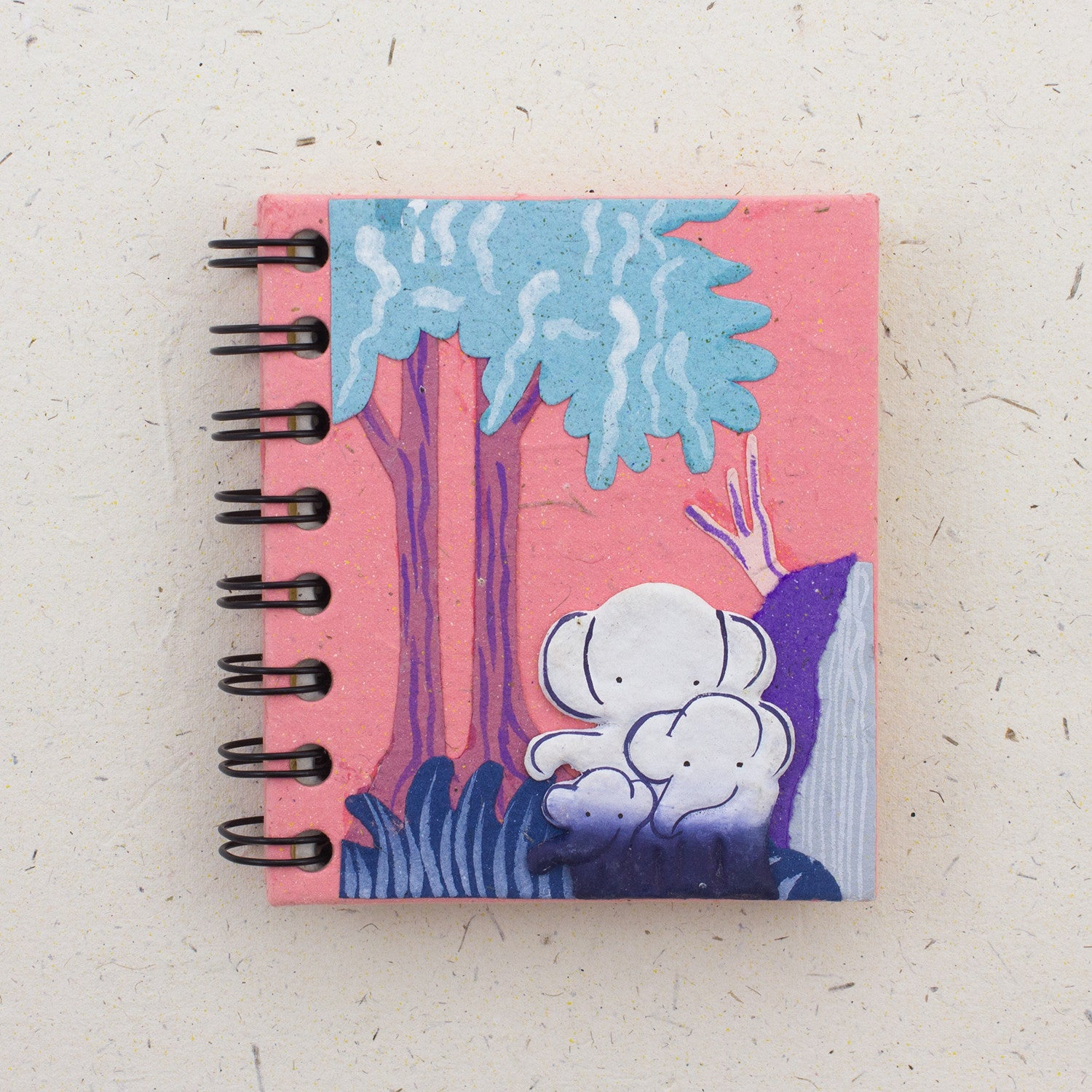 Small Notebook Elephants Pink