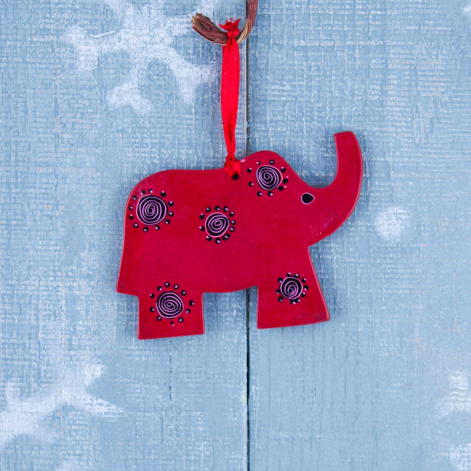 Soapstone Ornament Elephant Red