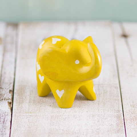 Soapstone Big-Eared Elephant Yellow