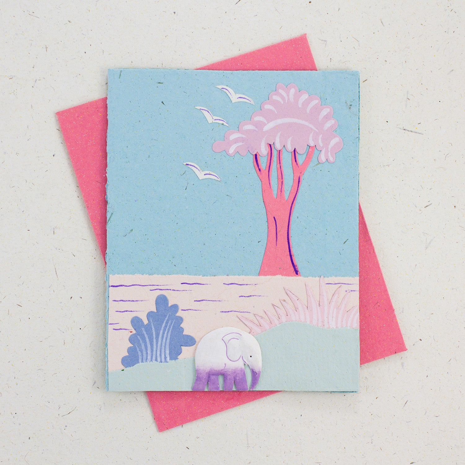 Single Greeting Card Elephant Robin's Egg Blue