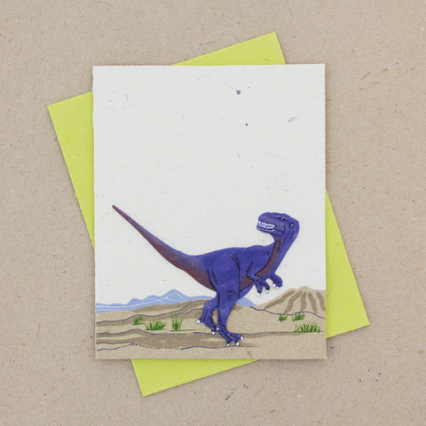 Single Greeting Card T-Rex Natural White