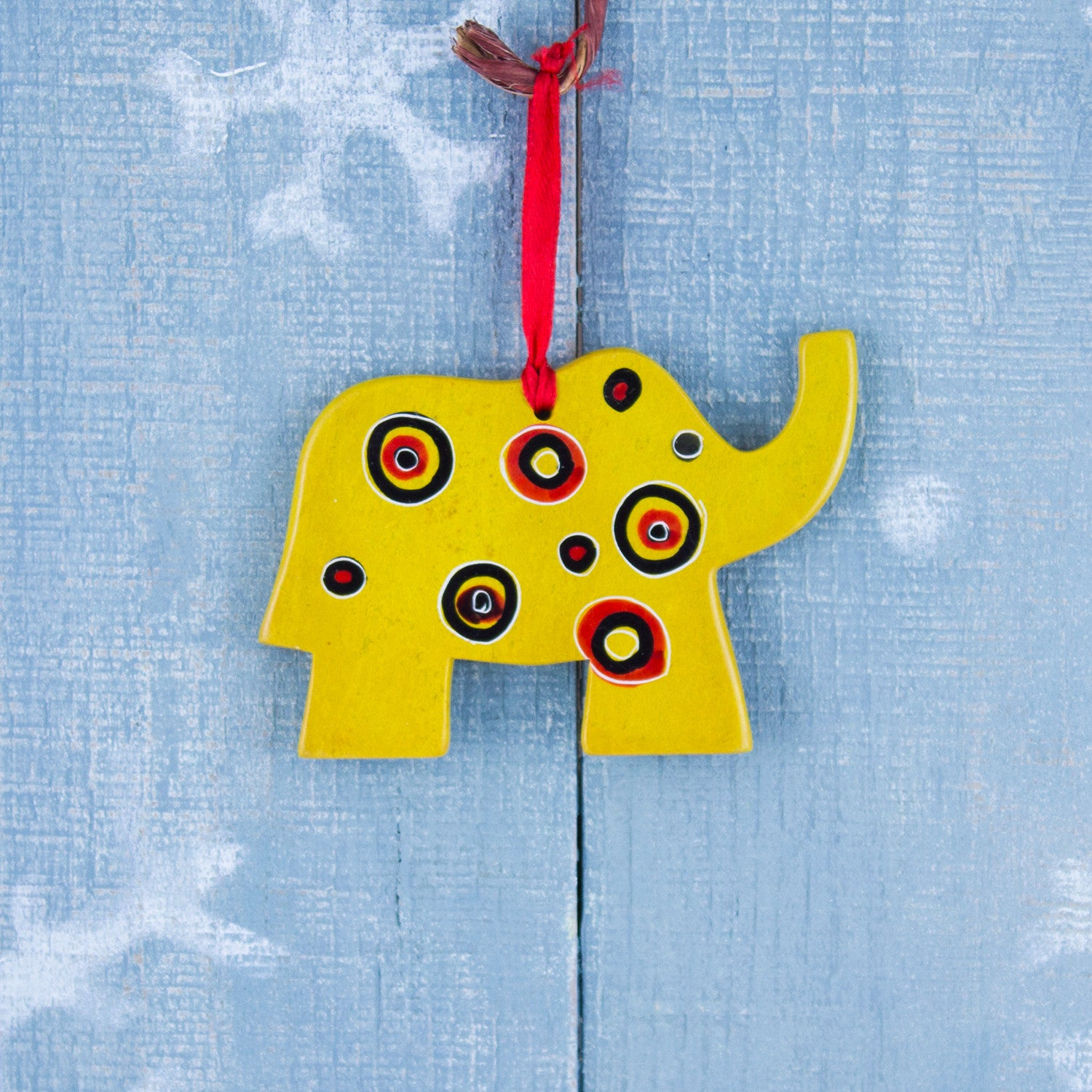 Soapstone Ornament Elephant Yellow