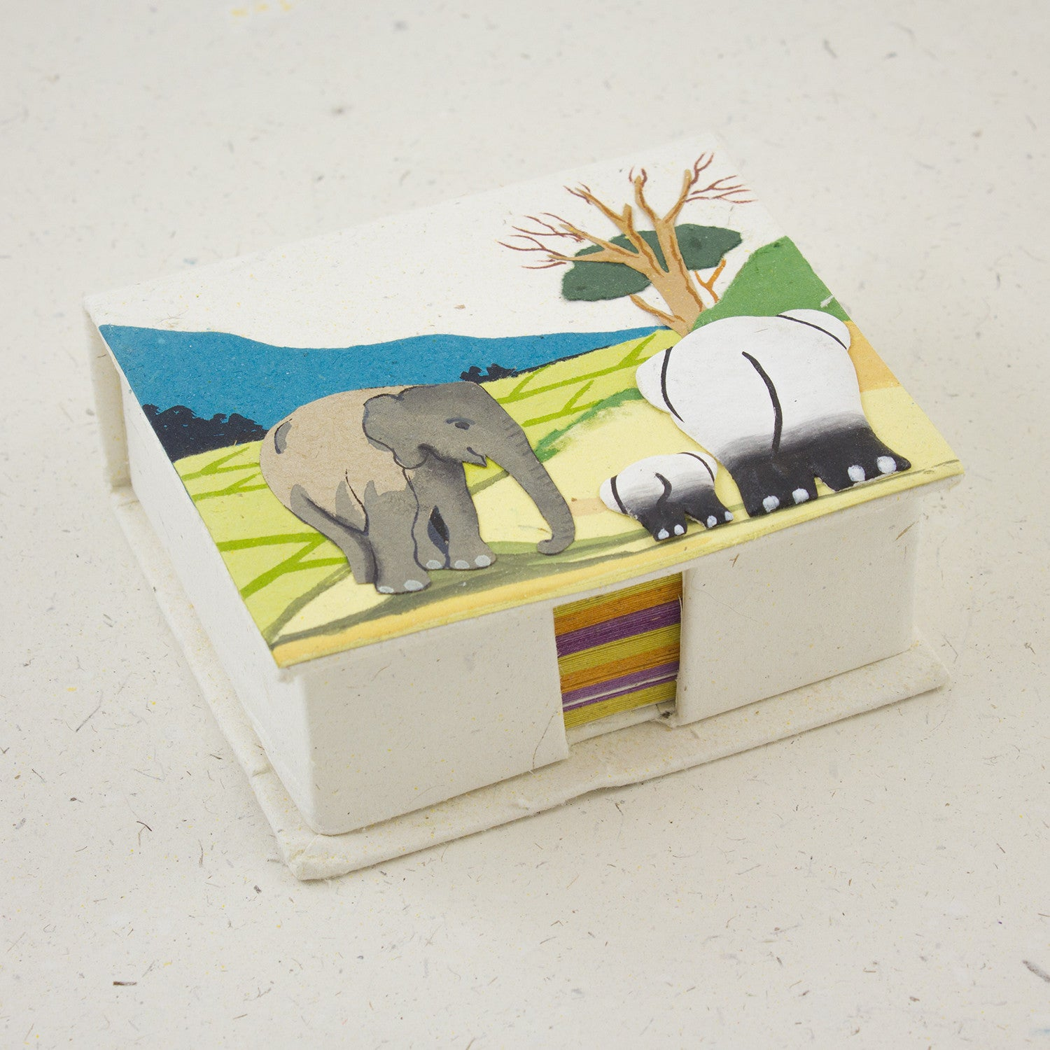 Note Box Elephants Natural White