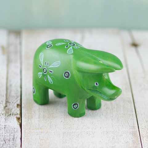 Soapstone Pig Dark Green