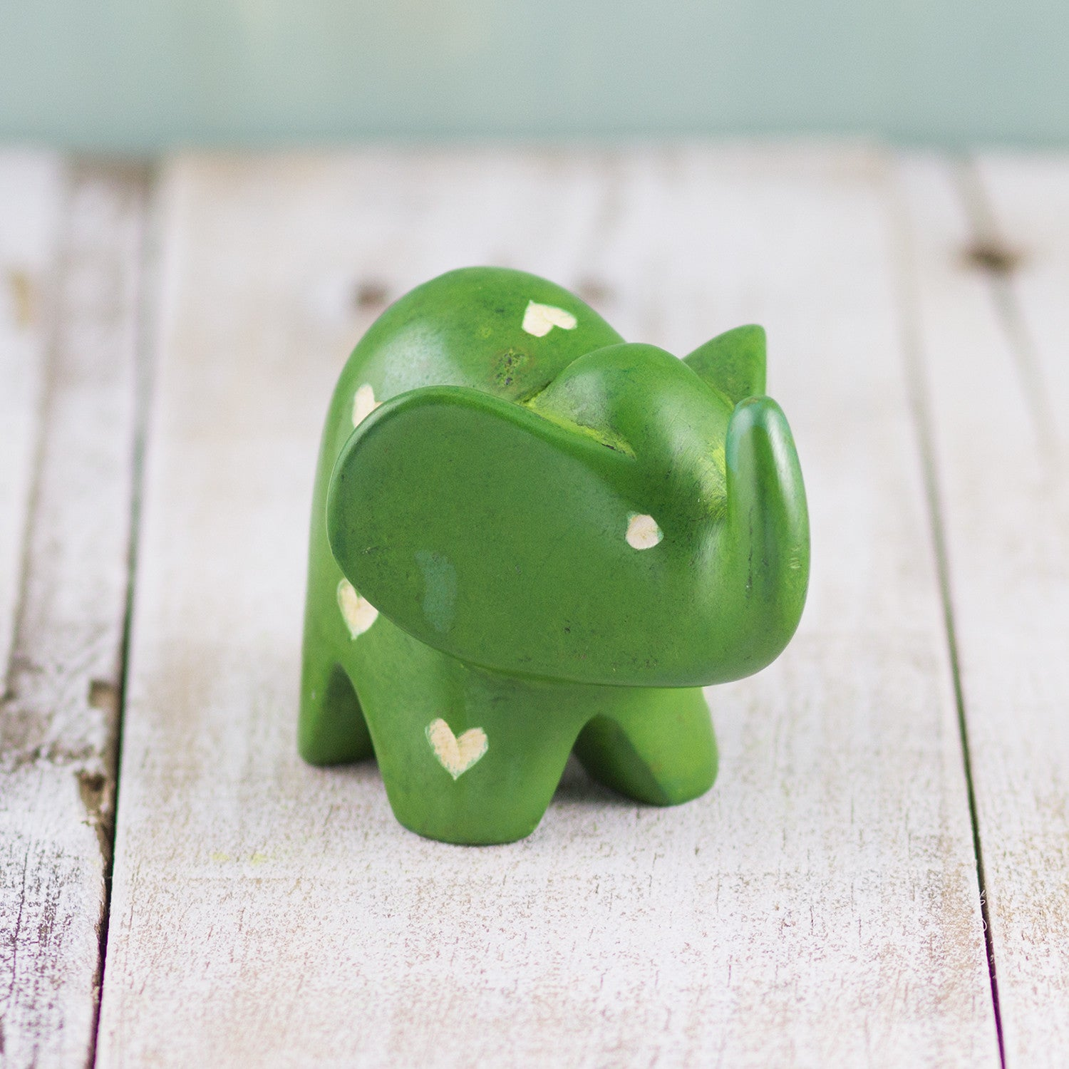 Soapstone Big-Eared Elephant Green