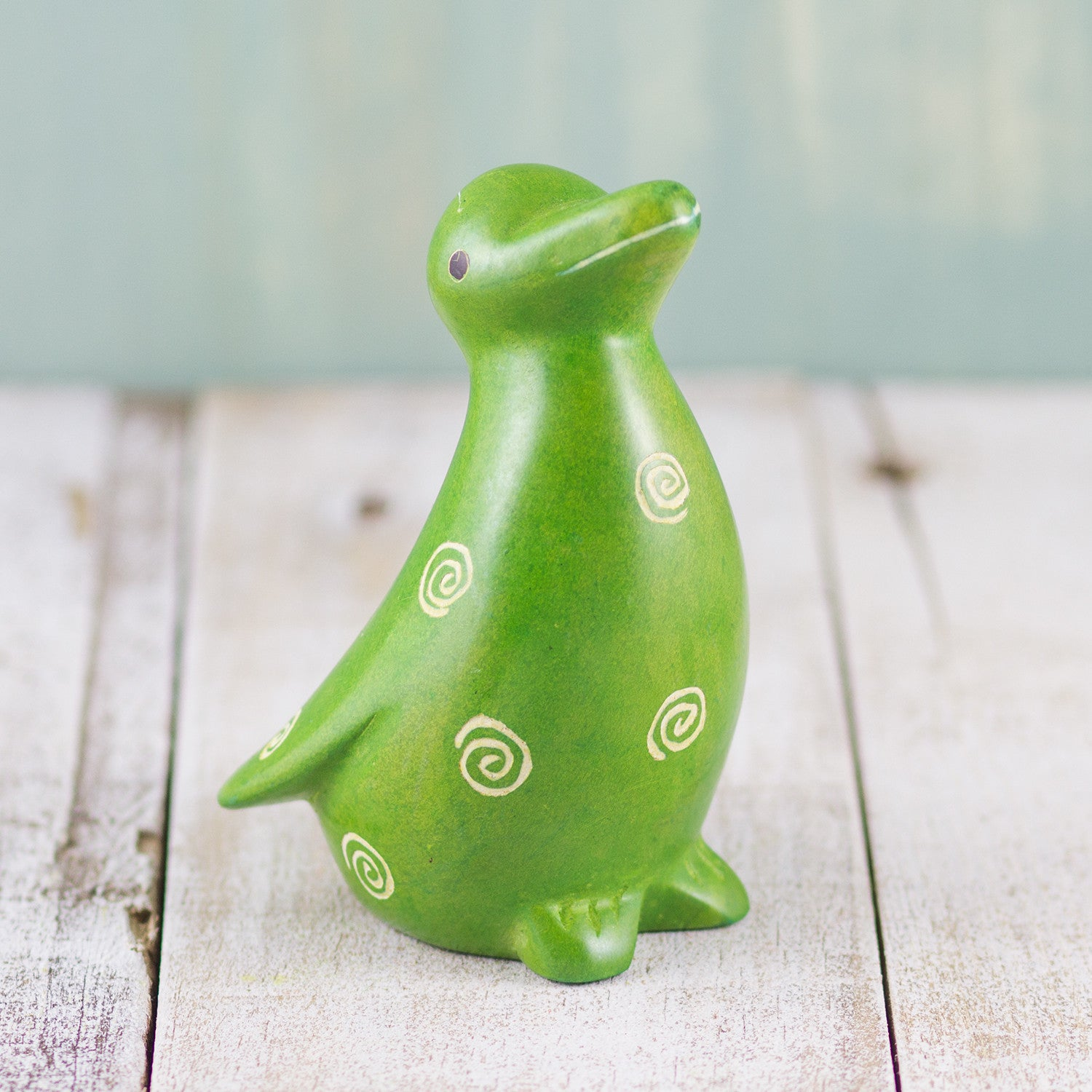 Soapstone Penguin Green