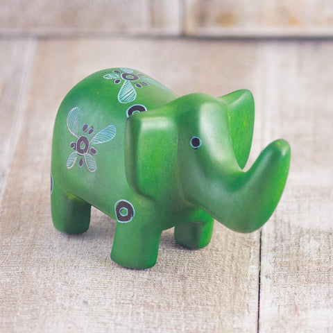 Soapstone Elephant Dark Green