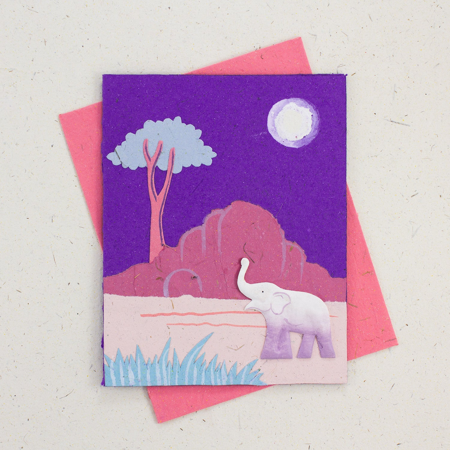 Single Greeting Card Elephant Purple