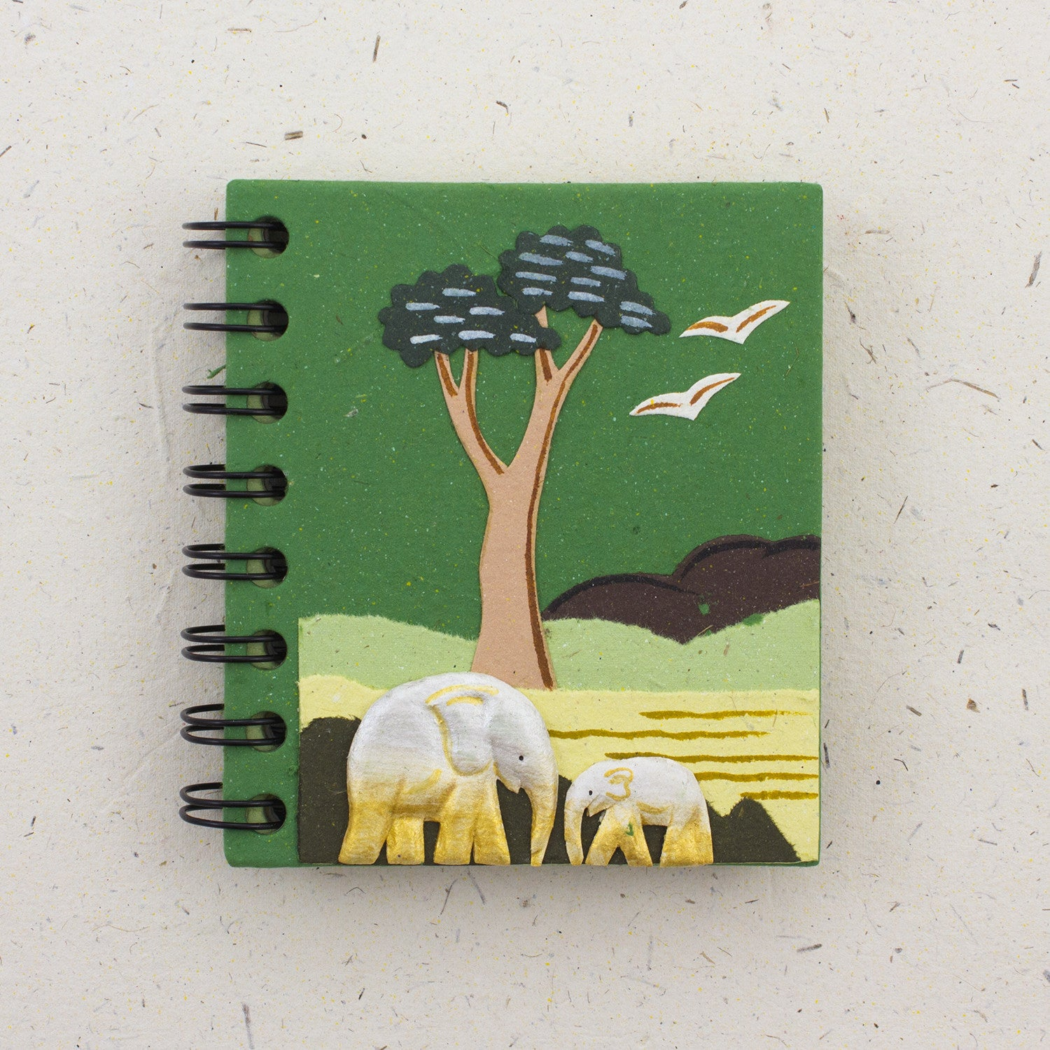 Small Notebook Elephants Dark Green